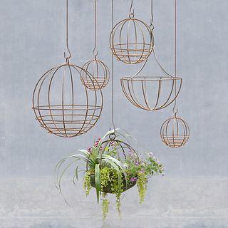 Brass Sphere Hanging Basket
