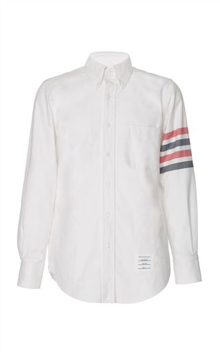 Stripe-Detailed Cotton-Flannel Button-Down Shirt by Thom Browne