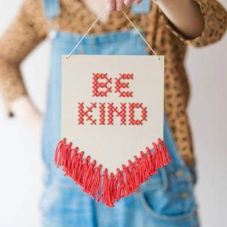 Be Kind Tasseled Embroidery Kit Coral