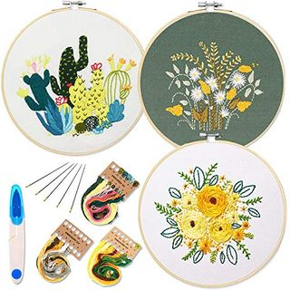3 Pack Embroidery Starter Kit with Pattern and Instructions,Cross Stitch Set, Full Range of Stamped Embroidery Kits with 3 Embroidery Clothes with Plants Flowers Pattern, Color Threads Tools Kit