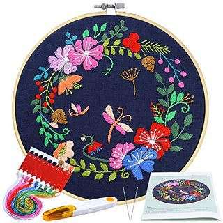 Pllieay Full Range Embroidery Starter Kit with Pattern and Instructions Including Embroidery Cloth with Botanical Garden Pattern, 20cm Bamboo Embroidery Hoop, Color Threads and Tools