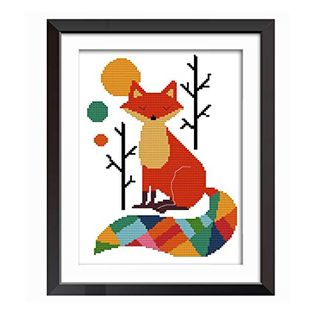 Proumhang 14CT Stamped Cross Stitch Lovely Animal Anime Simple Beginner Cross Stitch Embroidery Needlecraft DIY Canvas Aida Printed 22cm x 30cm:Colorful Fox