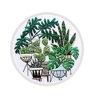 Embroidery Full Kit, Cross Stitch Starter Kit Flower Bouquet Potted Plant Pattern Hand DIY Embroidery Kits Bamboo Hoop Art Craft Home Decoration for Adult Kids Beginner
