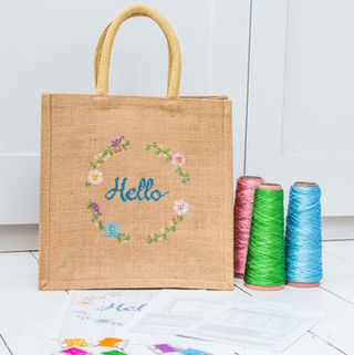 Hello Jute Bag Modern Cross Stitch Kit