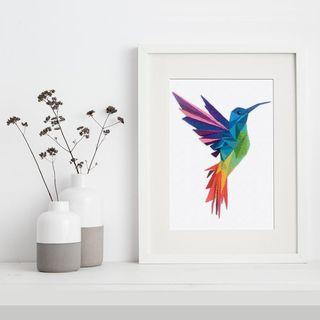 Cross Stitch Kit: Geometric Hummingbird Multi-Coloured, modern, abstract, bird, large A4 size