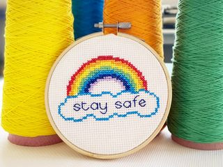 Stay Safe Rainbow Cross Stitch Kit, Craft Kit For Adults, Key Worker Gifts