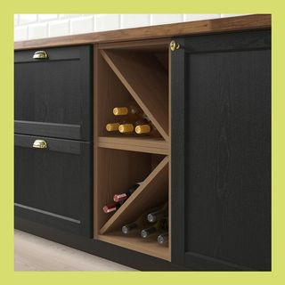VADHOLMA Wine shelf, brown, stained ash, 15x14 3/8x15