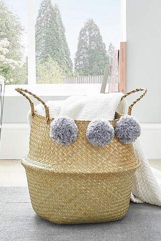 Grey Pom Pom Storage Basket