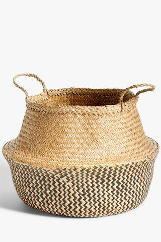 Black Patterned Seagrass Storage Basket