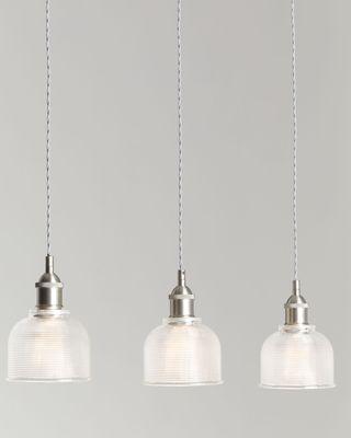 John Lewis & Partners Ezra 3 Pendant Prismatic Glass Ceiling Light, Pewter