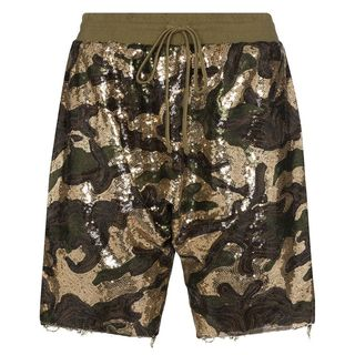 Sequin Camo Harem Shorts