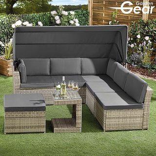 Garden Gear California Rattan Sofa with Canopy