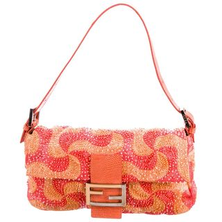 Lizard-Trimmed Beaded Baguette Bag
