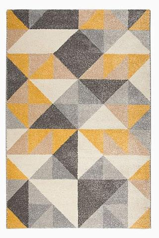 Ochre Geometric Squares Rug, from £15
