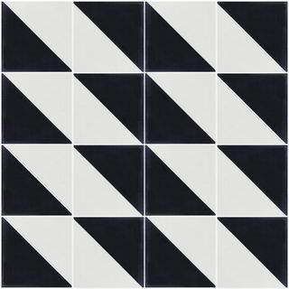 Man Overboard Black and White 8 in. x 8 in. Cement Handmade Floor and Wall Tile (Box of 16/ 6.96 sq. ft.)