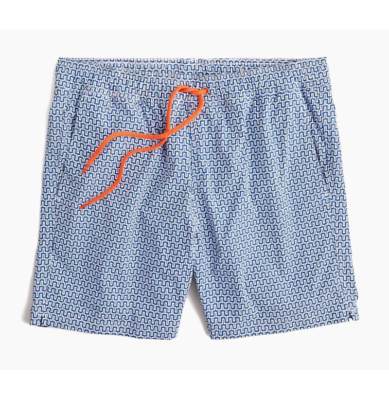 Train in Orange Pattern Mens Beach Shorts Drawstring Swimming Shorts