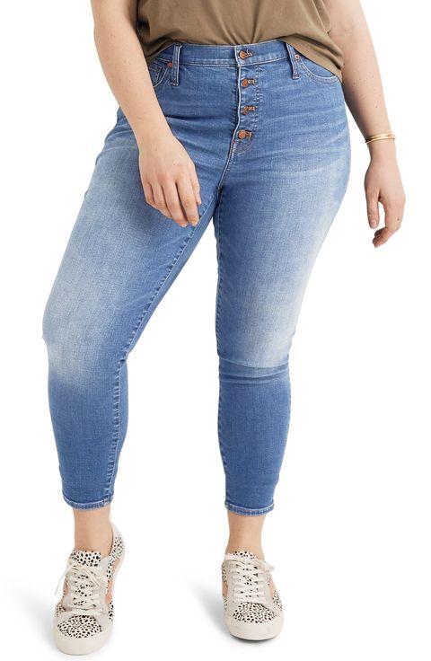 Different color blue jeans