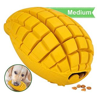 Pet-Fun Medium Mango - Safe Fun Durable rubber chew toy for boredom, practically indestructible treat dispenser, durable slow feeder, sturdy strong bite toy for medium / small dogs