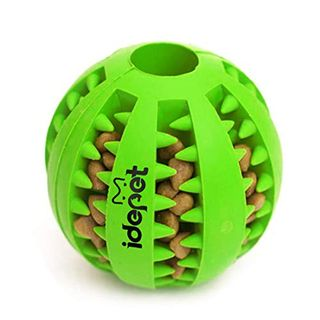Idepet Dog Toy Ball, Non-Toxic Bite Resistant Dog Chewing Ball Food Treat Feeder Teeth Cleaning Exercise Ball