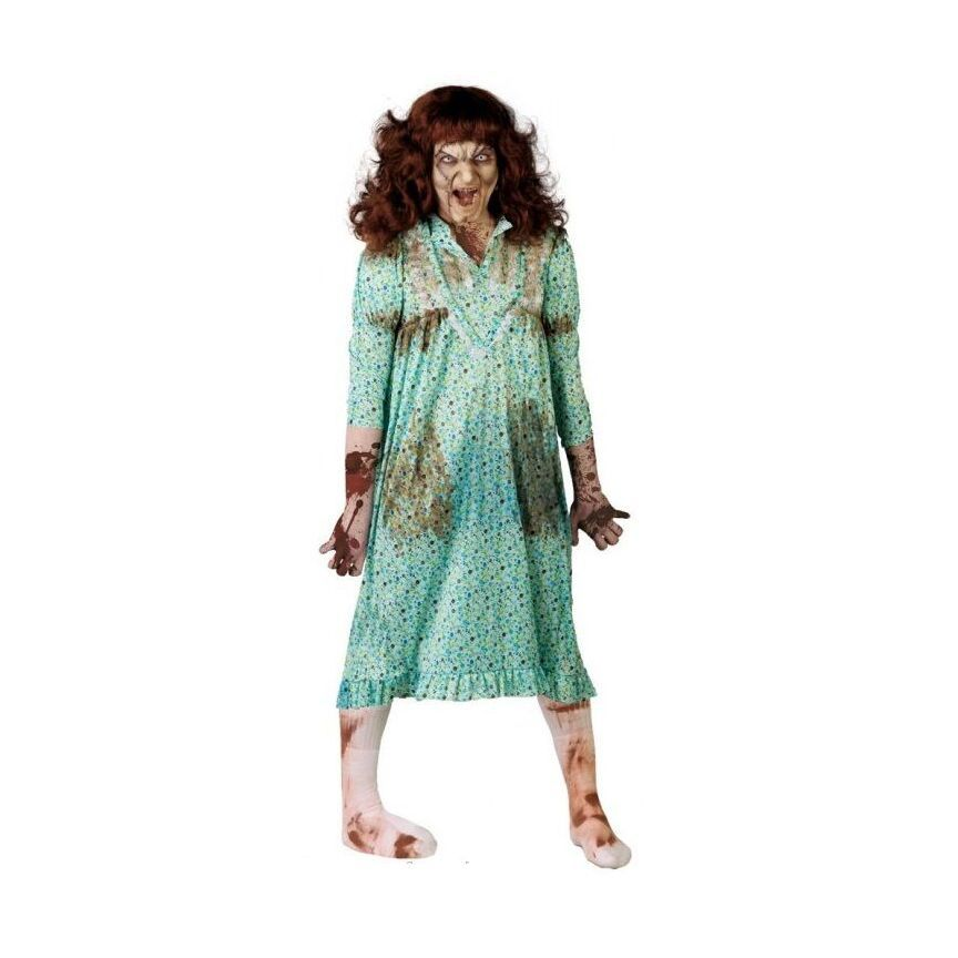 Zombie Possessed Girl /& FREE WIG Exorcist Halloween Adult Costume Fancy Dress