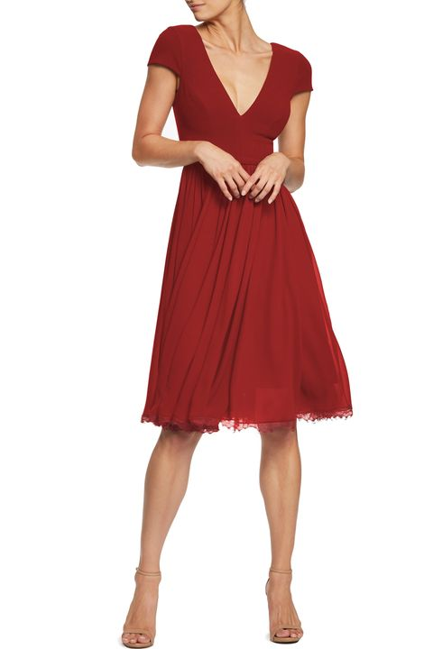 what to wear fall wedding - red dress with airy chiffon skirt