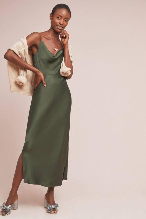 what to wear fall wedding - green slinky slip dress
