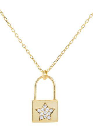 Pavé Star Padlock Pendant Necklace