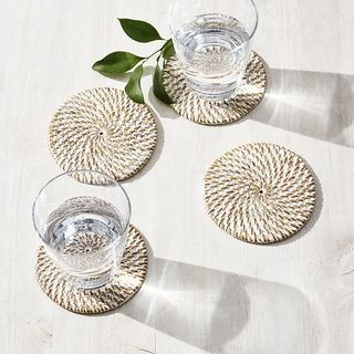 Whitewashed Rattan Coasters