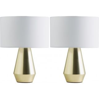 Maya Pair of gold touch lamps with white fabric shades