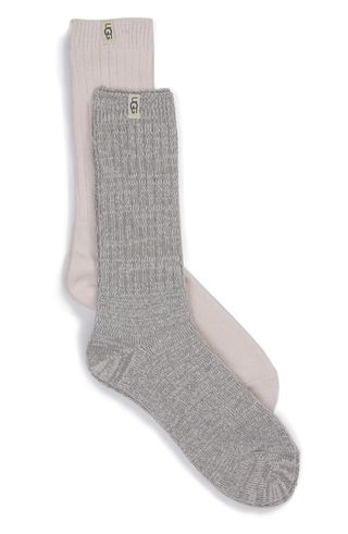 2-Pack Slouchy Ribbed Crew Socks