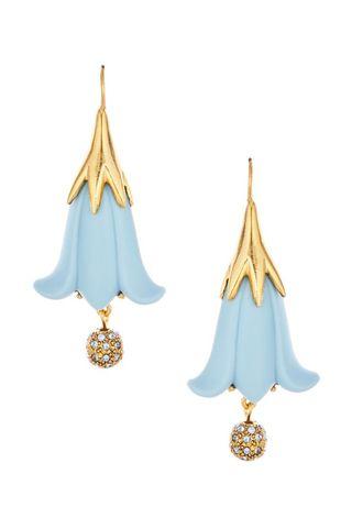 Resin Flower and Crystal Ball Drop Earrings
