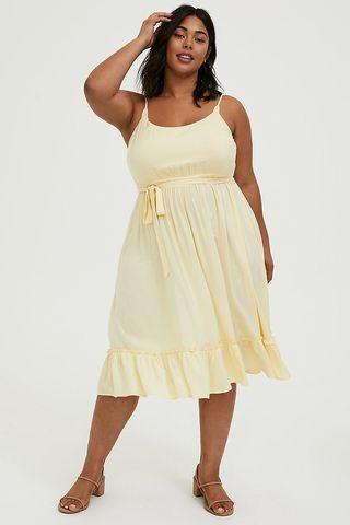 Shirred Hem Midi Dress