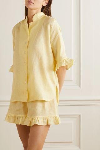 Ruffled linen pajama set
