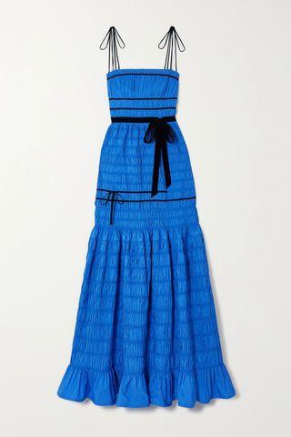 Minnie Velvet-Trimmed Shirred Tiered Taffeta Gown