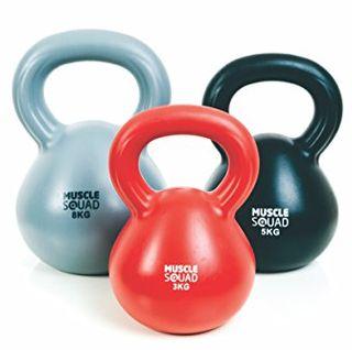 MuscleSquad 3, 5, 8 kg Kettlebell – Set of 3