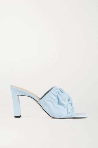 Ava ruched leather mules