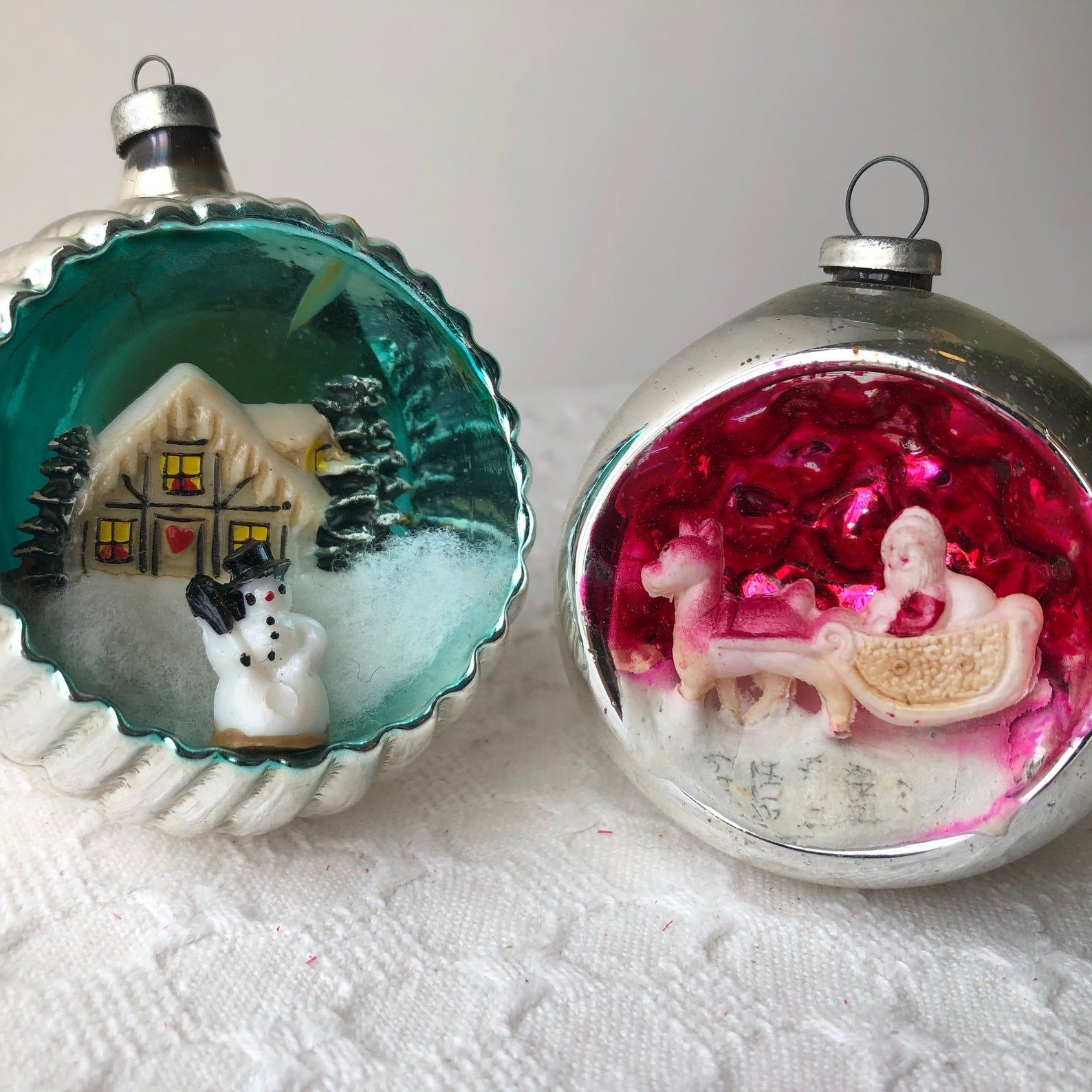 Unsilvered Tinsel Ornament Wartime Christmas Ornaments German Ornaments 1940s RARE German Unsilvered HOUSE Ornament with TINSEL Inside