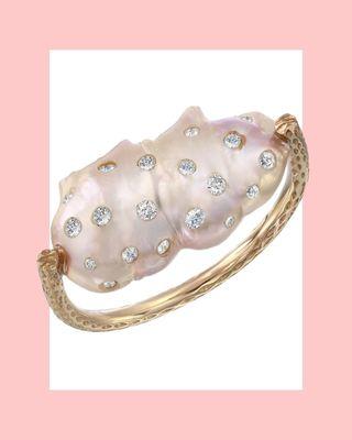 Bague diamant et perle baroque