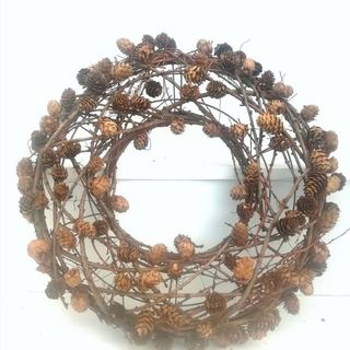 Autumn Inspired Pine Cone and Wound Twig Wreath