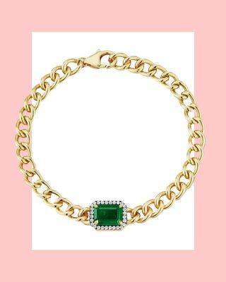 Toujours Emerald and Pave Diamond Solitaire Bracelet