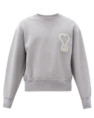 Ami de Cœur-appliqué cotton sweatshirt