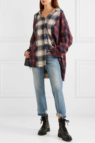 Oversized frayed checked cotton-flannel shirt, £500