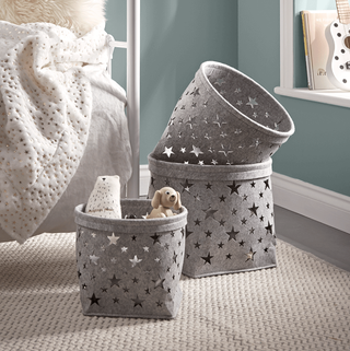 Three Starry Felt Baskets - Grey