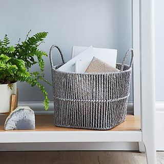 Small Grey Woven Storage Basket