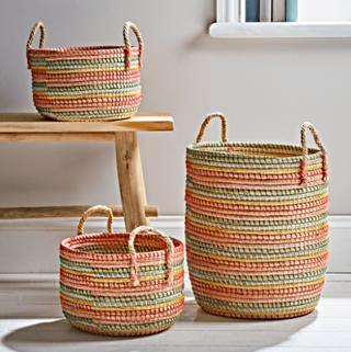 Three Fiesta Woven Baskets