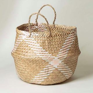 Checked Seagrass Storage Basket Medium
