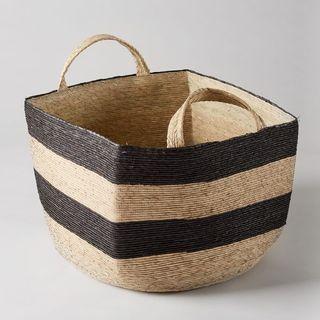 Square Revistero Storage Basket Black & Natural