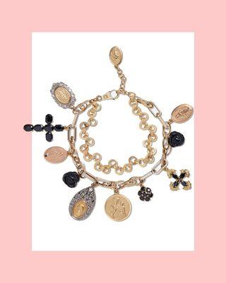 Bracelet Devotion en or jaune, blanc et rouge avec saphir noir et roses de jade noir