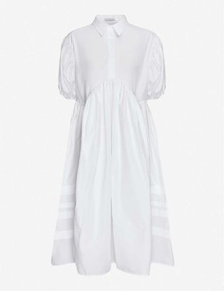 Puffed-sleeve flared-skirt cotton midi shirt dress, £670