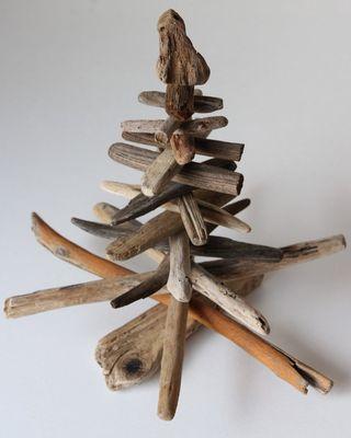 Décoration en bois de sapin de Noël en bois flotté